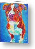 Bull Terrier Greeting Cards - Pit Bull - Squigs Greeting Card by Alicia VanNoy Call