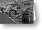 Motor Greeting Cards - Pit Stop Greeting Card by Ches Black