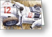Stop Greeting Cards - Pit Stop German GP 1939 Mercedes Benz W154 Rudolf Caracciola Greeting Card by Yuriy  Shevchuk