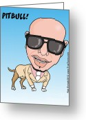 I Want You Greeting Cards - Pitbull Rapper Caricature Greeting Card by Rick Enright