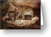 The Art Of Carol Cavalaris Greeting Cards - Pitbulls - The Softer Side Greeting Card by Carol Cavalaris
