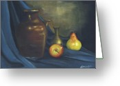 Pitcher Painting Greeting Cards - Pitcher and Fruit Greeting Card by Debbie McIntyre