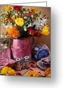 Chrysanthemum Greeting Cards - Pitcher of flowers still life Greeting Card by Garry Gay