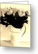 Decor Floral Picture Cards Greeting Cards - Pitcher Roses in Sepia Greeting Card by Marsha Heiken