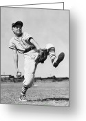 Baseball Cap Greeting Cards - Pitching Postition Greeting Card by Fred Morley