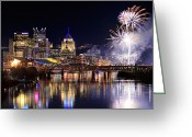 Pittsburgh Skyline Greeting Cards - Pittsburgh 1  Greeting Card by Emmanuel Panagiotakis