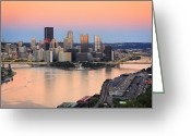 Pittsburgh Skyline Greeting Cards - Pittsburgh 16 Greeting Card by Emmanuel Panagiotakis