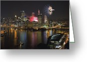 Pittsburgh Skyline Greeting Cards - Pittsburgh 3 Greeting Card by Emmanuel Panagiotakis