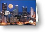 Pittsburgh Skyline Greeting Cards - Pittsburgh 6 Greeting Card by Emmanuel Panagiotakis