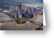 Pittsburgh Skyline Greeting Cards - Pittsburgh 8 in color  Greeting Card by Emmanuel Panagiotakis