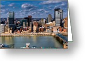 Mt. Washington Greeting Cards - Pittsburgh Greeting Card by David Hahn