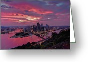 Mellon Arena Greeting Cards - Pittsburgh Dawn Greeting Card by Jennifer Grover