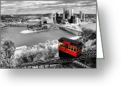 Incline Digital Art Greeting Cards - Pittsburgh From The Incline Greeting Card by Michelle Joseph-Long