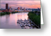 Pittsburgh Skyline Greeting Cards - Pittsburgh Pa Spring of 2012 Greeting Card by Emmanuel Panagiotakis