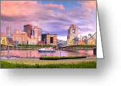 Sewickley . Greeting Cards - Pittsburgh Panorama north side  Greeting Card by Emmanuel Panagiotakis