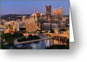 Pittsburgh Skyline Greeting Cards - Pittsburgh Pennsylvania Skyline at Dusk Sunset Panorama Greeting Card by Jon Holiday