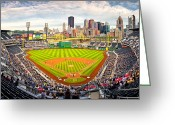Pittsburgh Skyline Greeting Cards - Pittsburgh Pirates  Greeting Card by Emmanuel Panagiotakis