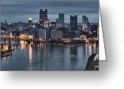 Pittsburgh Skyline Greeting Cards - Pittsburgh Skyline 2 Greeting Card by Wade Aiken