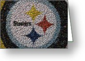 Pittsburgh Steelers Greeting Cards - Pittsburgh Steelers  Bottle Cap Mosaic Greeting Card by Paul Van Scott