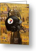 Football Painting Greeting Cards - Pittsburgh Steelers Helmet - Super Bowl Champions Greeting Card by Ryan Jones
