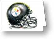 Pittsburgh Steelers Greeting Cards - Pittsburgh Steelers Helmet Greeting Card by James Sayer