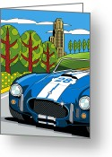 Pitt Greeting Cards - Pittsburgh Vintage Grand Prix Greeting Card by Ron Magnes