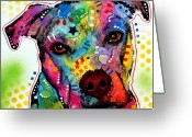 Dean Russo Art Painting Greeting Cards - Pity Pitbull Greeting Card by Dean Russo