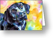 Black Lab Puppy Greeting Cards - Pixie Dog - Black Lab Greeting Card by Christy  Freeman