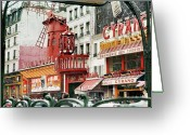 Brasserie Greeting Cards - Place Blanche Greeting Card by Hans Mauli