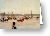 Signed Greeting Cards - Place de la Concorde - Paris  Greeting Card by Georges Fraipont