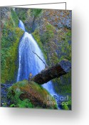 Red Photographs Mixed Media Greeting Cards - Places Where Magic Happens - Wahkeena Falls Greeting Card by Photography Moments - Sandi