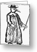 Men Greeting Cards - Plague Costume, 1720 Greeting Card by Granger
