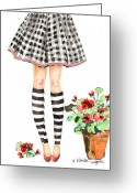Plaid Skirt Greeting Cards - Plaid And Stripes Greeting Card by Arline Wagner