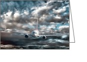 Landing Greeting Cards - Plane in Storm Greeting Card by Olivier Le Queinec