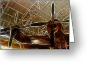 Airplanes Greeting Cards - Plane In The Hanger Greeting Card by Paul Ward