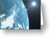Glowing Star Greeting Cards - Planet Earth, Satellite View Greeting Card by Caspar Benson