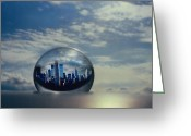 Cities Glass Art Greeting Cards - Planet NY Greeting Card by Etti Palitz