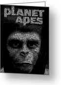 Planet Of The Apes Greeting Cards - Planet of the Apes Text Mosaic Greeting Card by Paul Van Scott