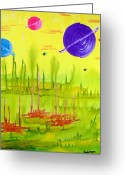 Outerspace Greeting Cards - Planet Wars Greeting Card by Sandy Wager