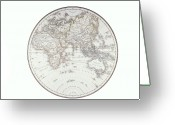 Antique Map Digital Art Greeting Cards - Planispheric Map Of The Eastern Hemisphere Greeting Card by Fototeca Storica Nazionale