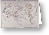 Antique Map Digital Art Greeting Cards - Planispheric Map Of The World Greeting Card by Fototeca Storica Nazionale