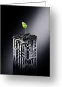 Nature Fusion Greeting Cards - Plant Biotechnology, Conceptual Image Greeting Card by Richard Kail