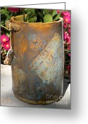 Clay Ceramics Greeting Cards - Planter Greeting Card by Christine Belt