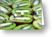 Kiwi Greeting Cards - Planting rice on kiwifruit Greeting Card by Mingqi Ge