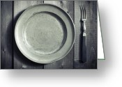 Pointed Greeting Cards - Plate And Fork Greeting Card by Joana Kruse