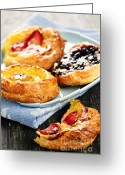 Serving Piece Greeting Cards - Plate of fruit danishes Greeting Card by Elena Elisseeva