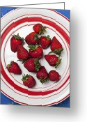 Luscious Greeting Cards - Plate of strawberries Greeting Card by Garry Gay