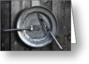Tin Greeting Cards - Plate With Silverware Greeting Card by Joana Kruse