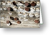 Aged Greeting Cards - Plates with Numbers Greeting Card by Carlos Caetano