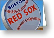 Red Sox Baseball Greeting Cards - Play Ball Greeting Card by Donna Shahan